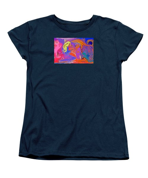 Women's T-Shirt (Standard Cut) featuring the painting  Fun Art But Mom by Sherri  Of Palm Springs