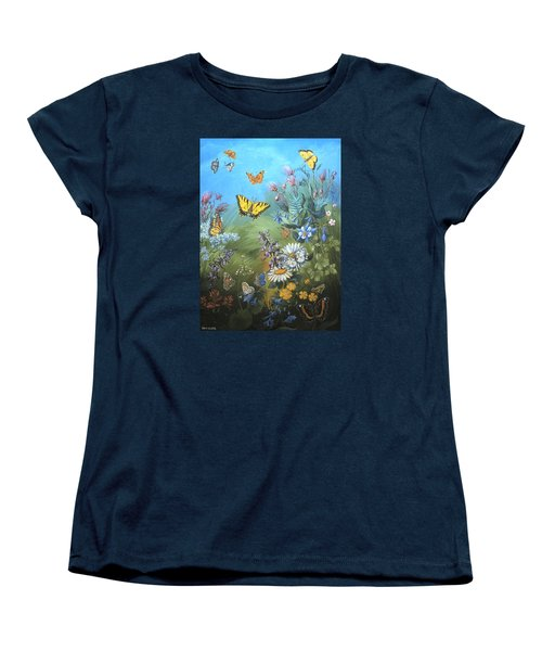 Butterflies And Wildflowers Of Wyoming Women's T-Shirt (Standard Cut) by Dawn Senior-Trask