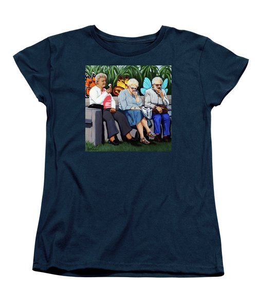 Women's T-Shirt (Standard Cut) featuring the painting Butterflies Like Ice Cream Too by Linda Apple