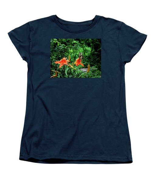 Women's T-Shirt (Standard Cut) featuring the photograph Butterfly And Canna Lilies by Cathy Harper