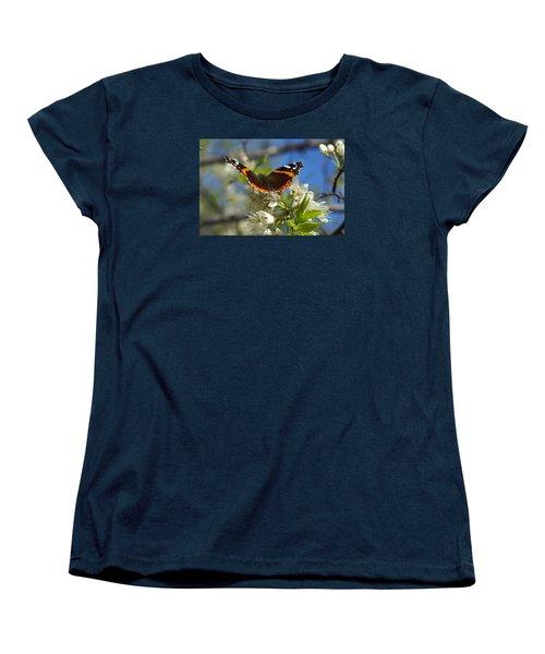 Butterfly On Blossoms Women's T-Shirt (Standard Cut) by Steven Clipperton
