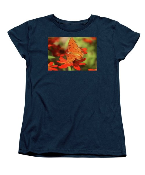 Butterfly On Flower Women's T-Shirt (Standard Cut) by Donna G Smith