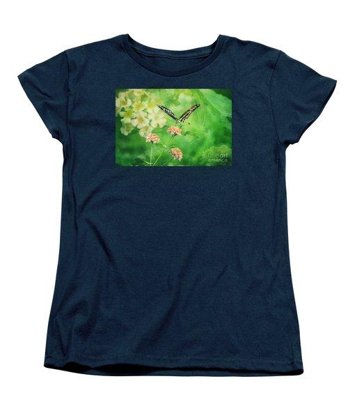 Butterfly On Lantana Montage Women's T-Shirt (Standard Cut) by Toma Caul
