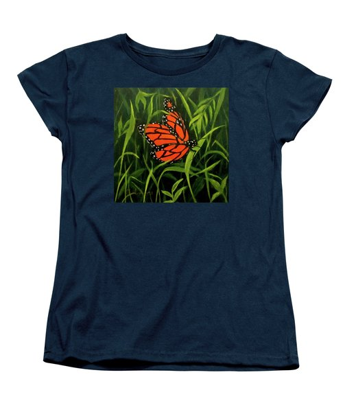 Women's T-Shirt (Standard Cut) featuring the painting Butterfly by Roseann Gilmore