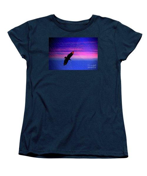 Women's T-Shirt (Standard Cut) featuring the photograph Buzzard In The Rain by Al Bourassa