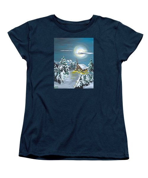 Cabin In The Woods Women's T-Shirt (Standard Cut) by Donna Blossom