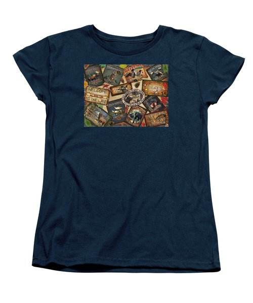 Women's T-Shirt (Standard Cut) featuring the painting Cabin Sign Collage by Cynthie Fisher JQ Licensing