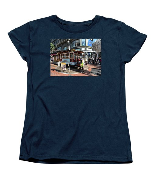 Women's T-Shirt (Standard Cut) featuring the photograph Cable Car Union Square Stop by Steven Spak