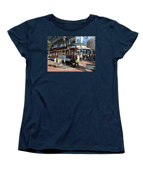 Cable Car Union Square Stop Women's T-Shirt (Standard Cut) by Steven Spak