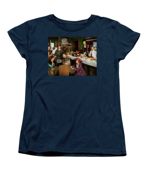 Women's T-Shirt (Standard Cut) featuring the photograph Cafe - Temptations 1915 by Mike Savad