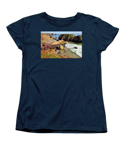 California Coast Rocks Cliffs Iceplant Ap Women's T-Shirt (Standard Cut) by Dan Carmichael