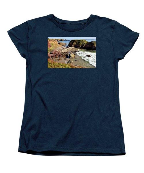 California Coast Rocks Cliffs Iceplant Women's T-Shirt (Standard Cut) by Dan Carmichael