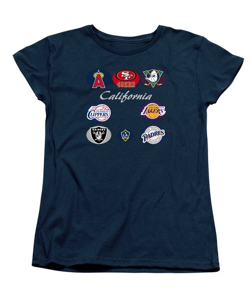 California Professional Sport Teams Collage  Women's T-Shirt (Standard Cut) by Movie Poster Prints