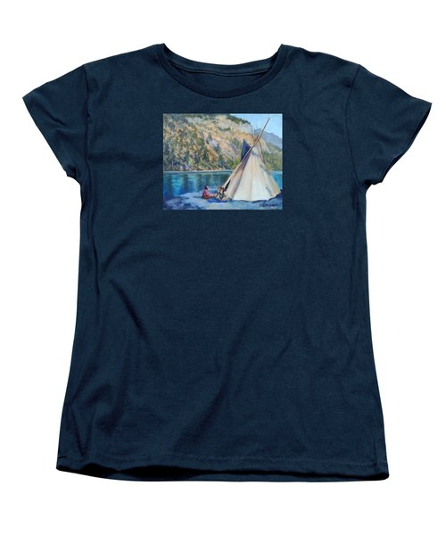 Camp By The Lake Women's T-Shirt (Standard Cut) by Connie Schaertl