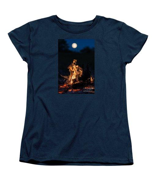 Camp Fire And Full Moon Women's T-Shirt (Standard Cut) by Cheryl Baxter