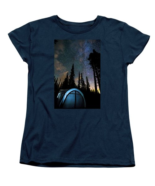 Women's T-Shirt (Standard Cut) featuring the photograph Camping Star Light Star Bright by James BO Insogna