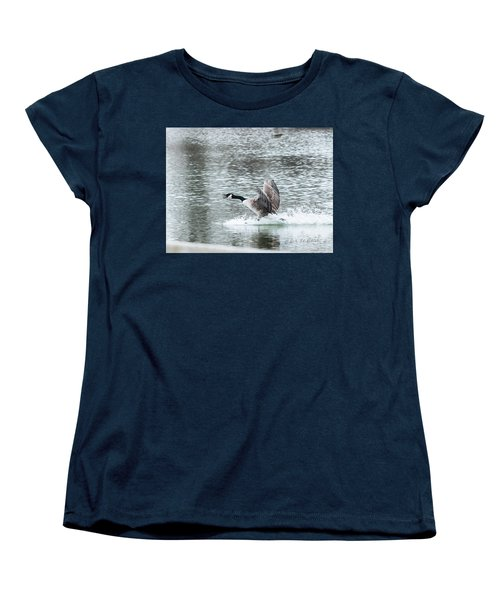 Women's T-Shirt (Standard Cut) featuring the photograph Canada Goose Landing 2 by Edward Peterson