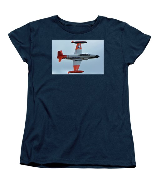 Women's T-Shirt (Standard Cut) featuring the photograph Canadair Ct-133 Silver Star Nx377jp Pacemaker Chino California April 30 2016 by Brian Lockett