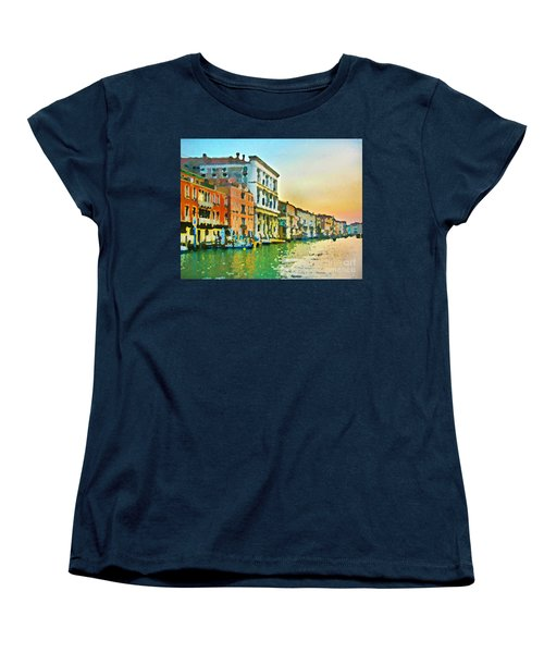 Women's T-Shirt (Standard Cut) featuring the photograph Canal Sunset - Venice by Tom Cameron