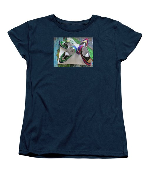 Women's T-Shirt (Standard Cut) featuring the painting Canvas Shoe Art  - 006 by Mudiama Kammoh