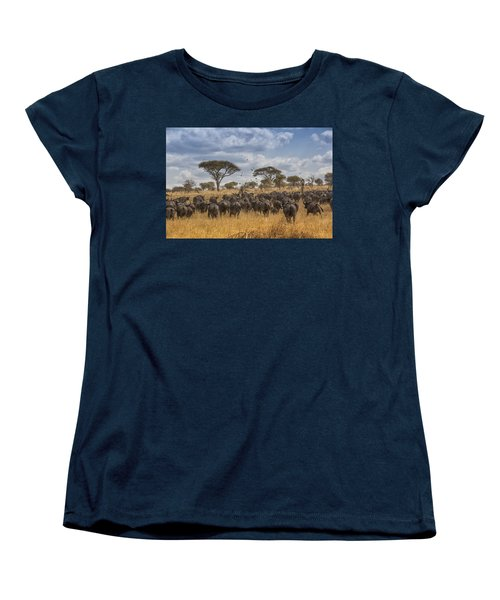 Women's T-Shirt (Standard Cut) featuring the tapestry - textile Cape Buffalo Herd by Kathy Adams Clark
