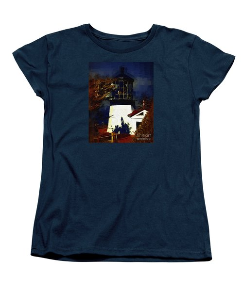 Women's T-Shirt (Standard Cut) featuring the digital art Cape Meares Lighthouse In Gothic by Kirt Tisdale