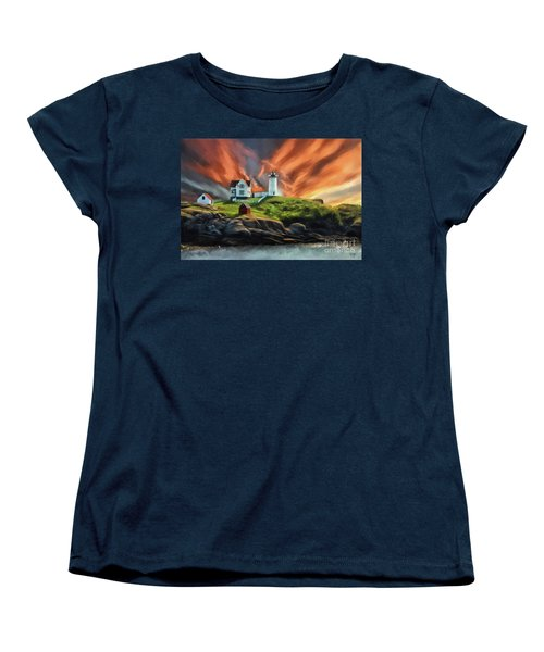 Women's T-Shirt (Standard Cut) featuring the digital art Cape Neddick Nubble Lighthouse by Lois Bryan