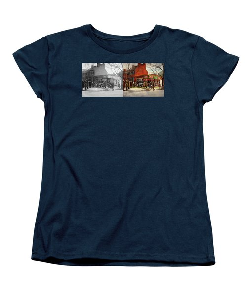 Women's T-Shirt (Standard Cut) featuring the photograph Car - Accident - Looking Out For Number One 1921 - Side By Side by Mike Savad