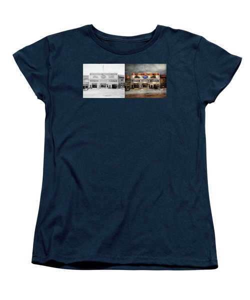 Women's T-Shirt (Standard Cut) featuring the photograph Car - Garage - Hendricks Motor Co 1928 - Side By Side by Mike Savad