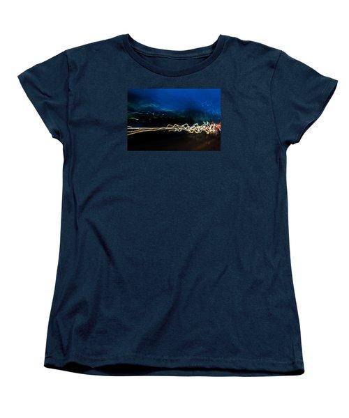 Car Light Trails At Dusk In City Women's T-Shirt (Standard Cut) by John Williams