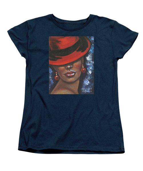 Women's T-Shirt (Standard Cut) featuring the painting Carbaret Red by Alga Washington