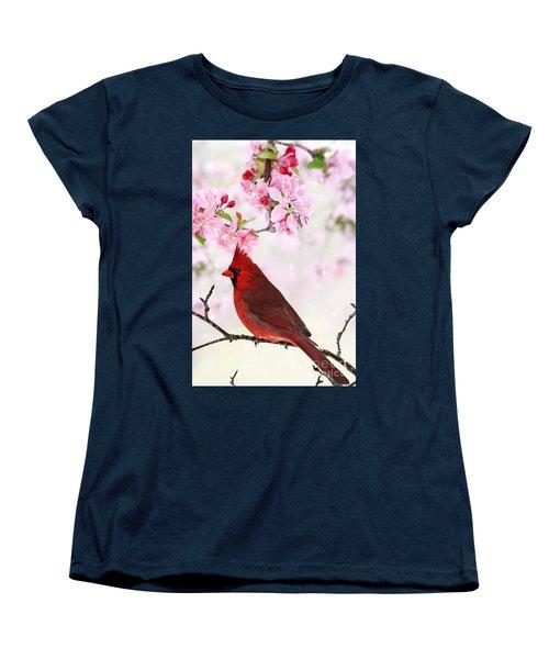 Cardinal Amid Spring Tree Blossoms Women's T-Shirt (Standard Cut)