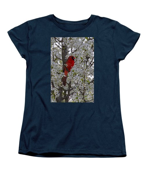 Women's T-Shirt (Standard Cut) featuring the photograph Cardinal In White Blossoms by Barbara Bowen