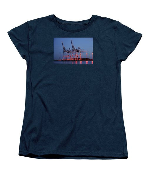 Women's T-Shirt (Standard Cut) featuring the photograph Cargo Cranes At Night by Bradford Martin