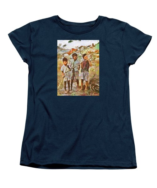 Women's T-Shirt (Standard Cut) featuring the painting Caribbean Scenes - Eating Sugarcane by Wayne Pascall