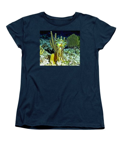 Caribbean Squid At Night - Alien Of The Deep Women's T-Shirt (Standard Cut) by Amy McDaniel