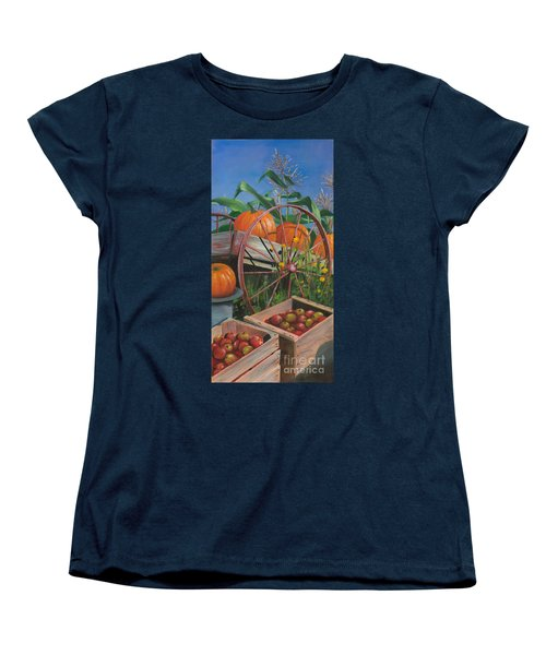 Women's T-Shirt (Standard Cut) featuring the painting Cartloads Of Pumpkins by Jeanette French