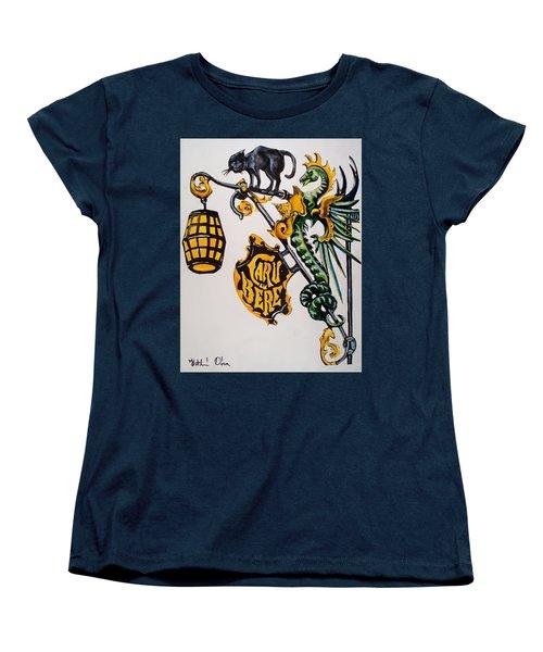 Caru Cu Bere - Antique Shop Sign Women's T-Shirt (Standard Cut) by Dora Hathazi Mendes