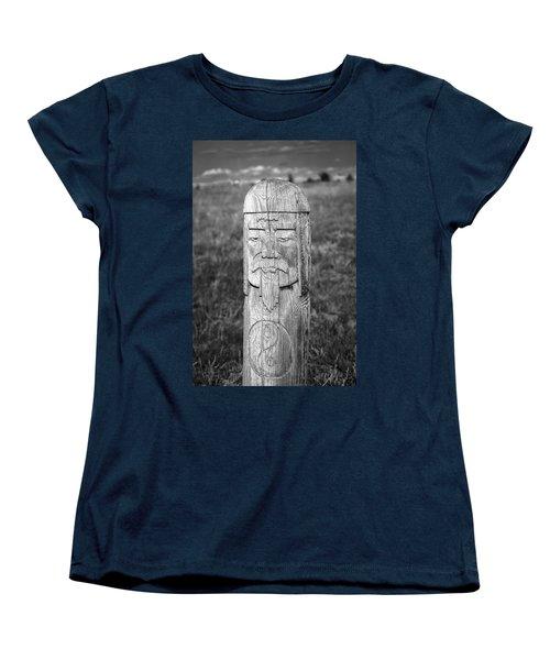 Women's T-Shirt (Standard Cut) featuring the photograph Carved Genghis Khan, Elsen Tasarkhai, 2016 by Hitendra SINKAR