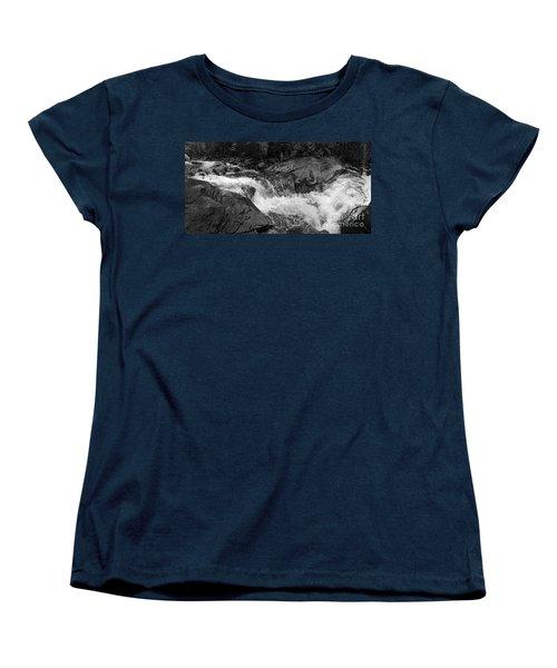 Women's T-Shirt (Standard Cut) featuring the photograph Cascade Stream Gorge, Rangeley, Maine  -70756-70771-pano-bw by John Bald