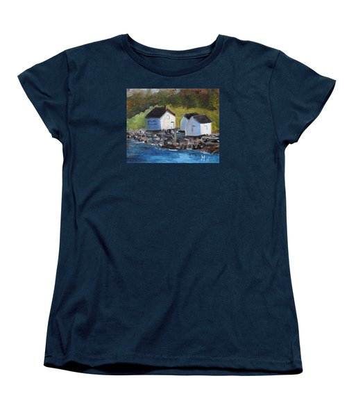 Women's T-Shirt (Standard Cut) featuring the painting Casco Bay Boat Houses by Michael Helfen