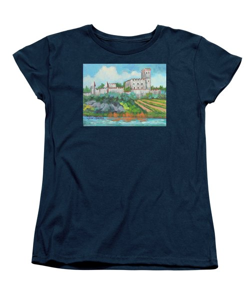 Women's T-Shirt (Standard Cut) featuring the painting Castle On The Upper Rhine River by Diane McClary