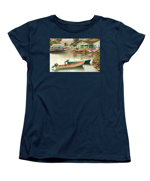 Women's T-Shirt (Standard Cut) featuring the photograph Castries Harbor Waterfront by Roupen  Baker