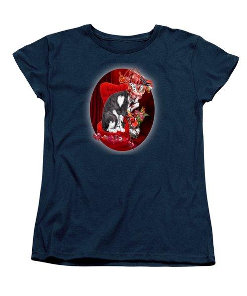 Cat In The Valentine Steam Punk Hat Women's T-Shirt (Standard Cut) by Carol Cavalaris