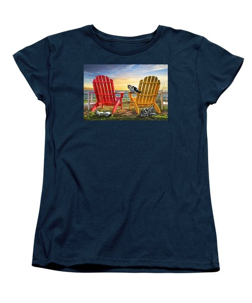 Women's T-Shirt (Standard Cut) featuring the photograph Cat Nap At The Beach by Debra and Dave Vanderlaan