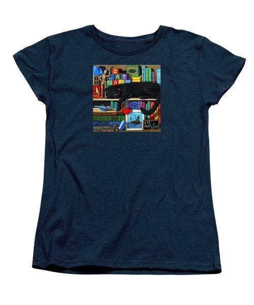 Cat Nap - Orginal Black Cat Painting Women's T-Shirt (Standard Cut)