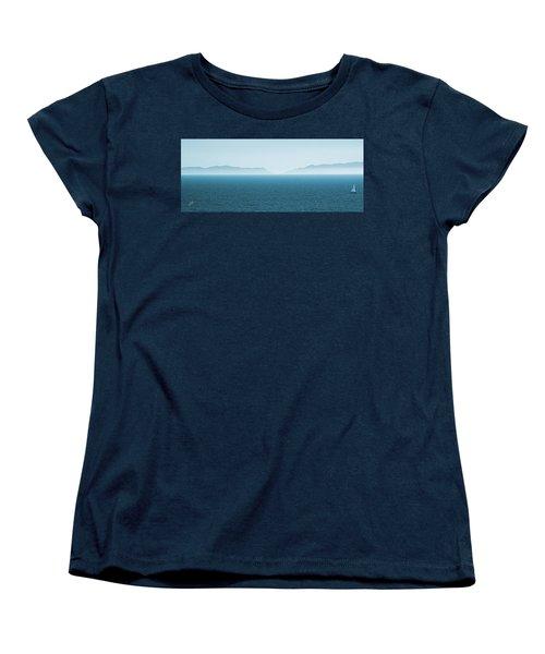 Catalina Island Large Panoramic Color Fine Art Print On Metal Women's T-Shirt (Standard Cut) by Ben and Raisa Gertsberg