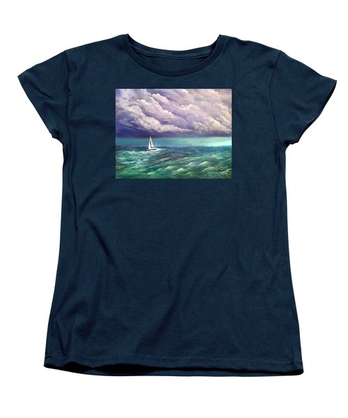 Women's T-Shirt (Standard Cut) featuring the painting Tell The Storm by Patricia L Davidson