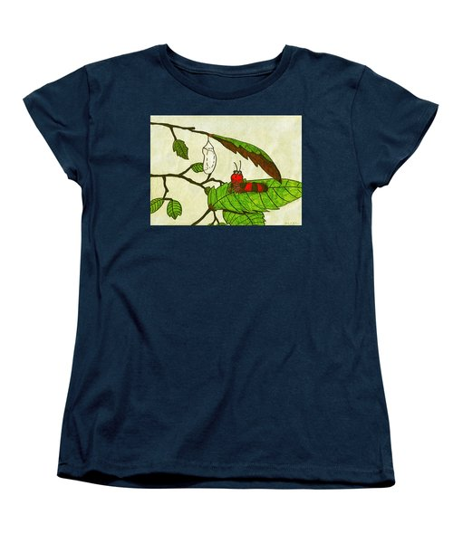 Women's T-Shirt (Standard Cut) featuring the drawing Caterpillar Whimsy by Wendy McKennon