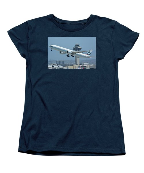 Women's T-Shirt (Standard Cut) featuring the photograph Cathay Pacific Boeing 777-367er B-kph Los Angeles International Airport May 3 2016 by Brian Lockett